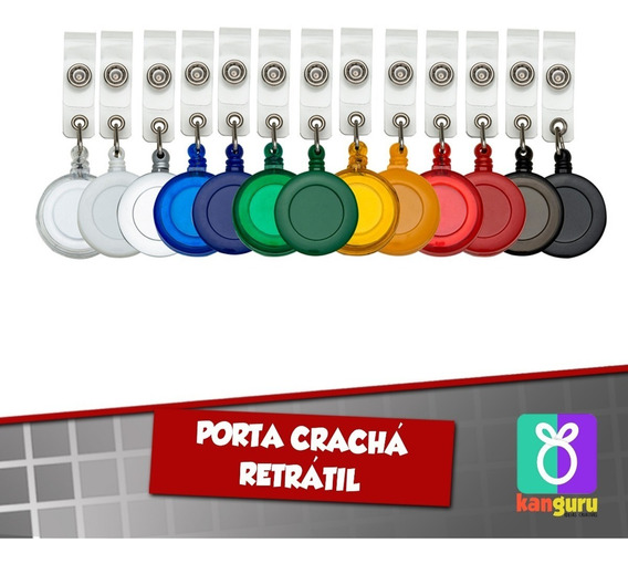 100 Unida. Porta Crachá Retrátil Roller Clip - Personalizado