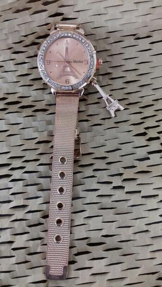 Relógio Feminino Meibo, Com Strass, Torre Eiffel, Cod. 00375