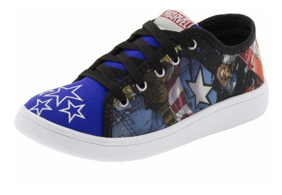 Tênis Infantil Masculino Capitão América Preto/azul Disney -