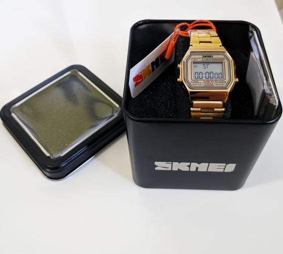 Relógio Feminino De Pulso Skmei 1123 Digital Retro Dourado