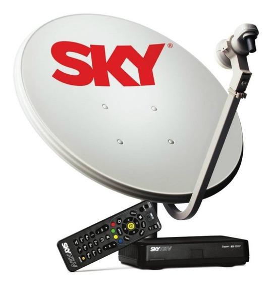 Kit Antena Parabólica E Receptor Sky Conforto Hd 60cm