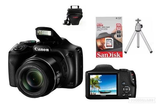 Câmera Canon Powershot Sx540 Hs Wi Fi+64gsd+bolsa+tripé C/nf