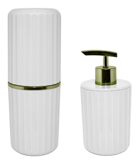 Conjunto Banheiro 2 Pç Groove Porta Escovas Sabonete Liquido