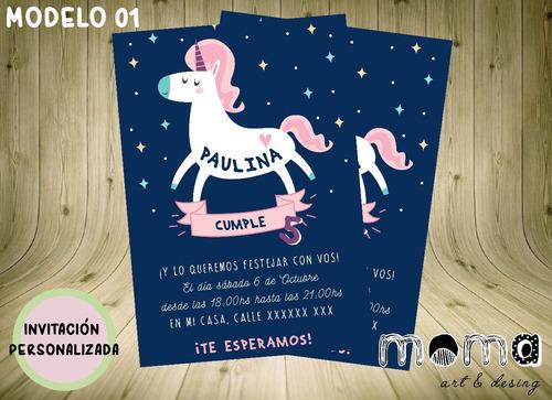 Invitaciones Imprimibles Y Digitales - Unicornio