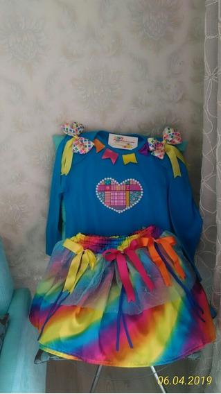 Vestido Junino Infantil Tamanho 8 Body Saia Cetim Tule Lacos