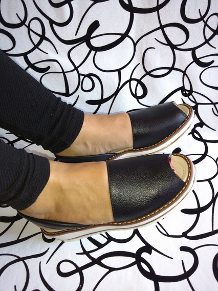 Zapatos Sandalia Puro Cuero Negra Comoda Dama Envío Gratis