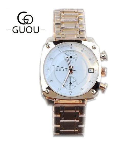 Relógio Guou 8108 Gold Aço Inox À Prova D