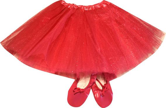 Tutu Brilloso Y Zapatillas Media Punta Ballet Danza Soko