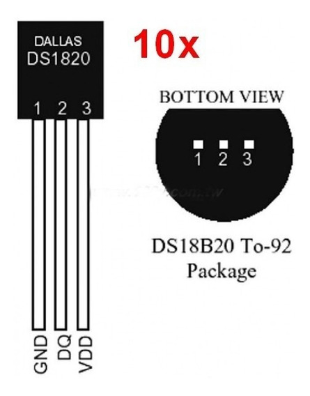 10pc Sensor De Temperatura Digital Ds18b20 Arduino 1wre To92