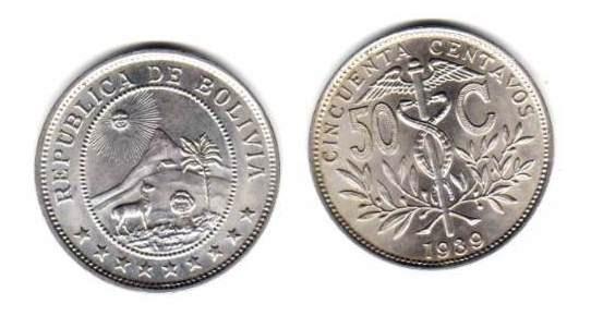 Moneda De Bolivia De 50 Centavos Año 1939 Sin Circular