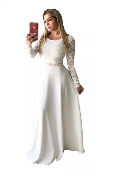 Vestido Longo De Noiva Gode Casamento Civil Brinde Cinto