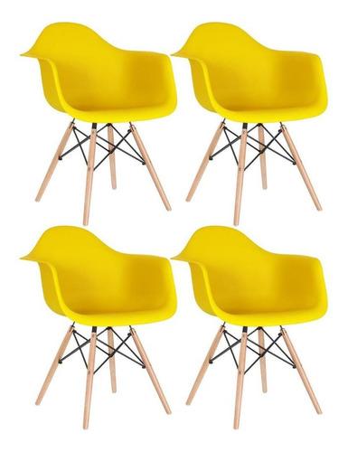 4 Cadeiras  Eames Wood Daw Com Braços Jantar Amarelo