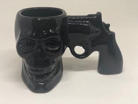 Caneca Xícara Revólver Pistola De Caveira Frete Grátis