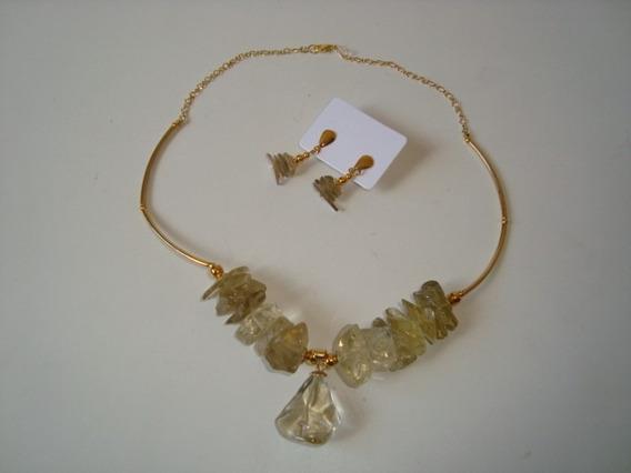 Colar Dourado Cascalho Pedra Cristal Ametrina C/ Brincos