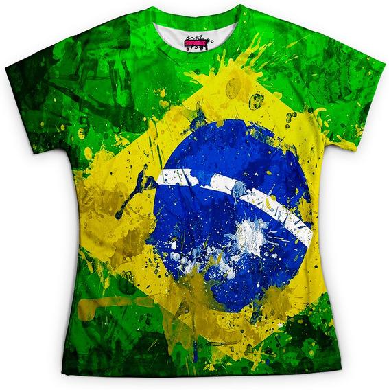 Camiseta Baby Look Feminina Brasil Bandeira Copa Md01