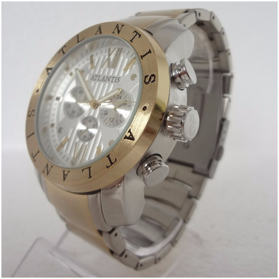 Relógio Masculino Atlantis A3310 Prata Dourado Estilo Bugary