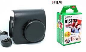Bolsa Couro Sint - Câmera Instax Mini Preta + Filme 20 Fotos
