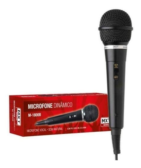 Microfone Mxt Dinâmico Com Fio Plástico Preto M1800b