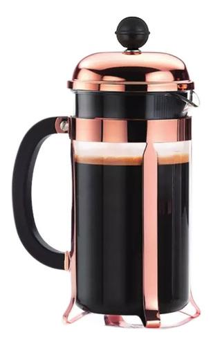 Cafetera Prensa Francesa 350ml Acero Oro Rosa Deluxe Hogar