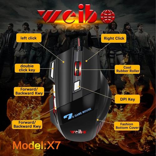 Mouse Gammer X7 2400dpi Laser Usb 7 Botões Profissional