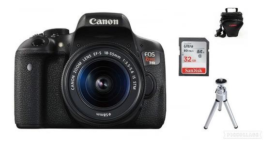 Câmera Canon T6i 18-55+bolsa+32gb+tripé