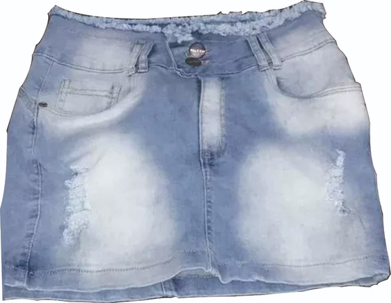 Mini Saia Jeans Levanta Bumbum Rasgada