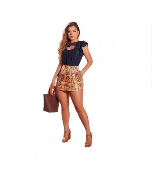 Conjunto Feminino Alfaiataria Short Saia +blusa Social Luxo Índia Cass01
