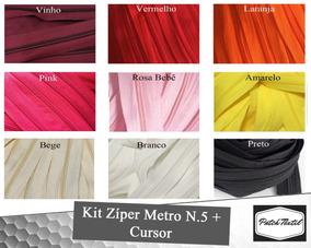 Kit 25 Metros Zíper N.5 Em Metro + 50 Unid Cursor N.5