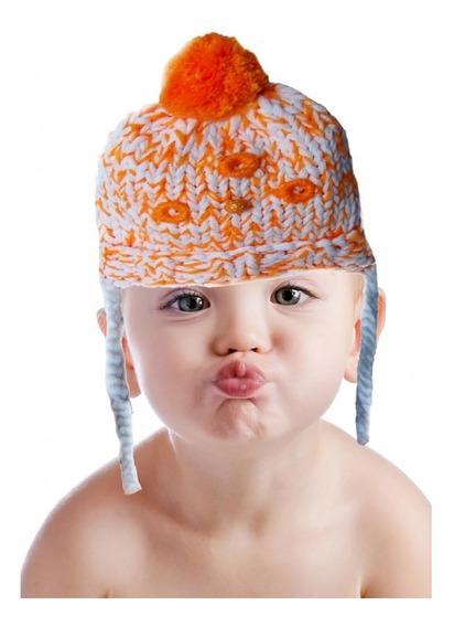 Gorro De Lã Infantil E Par Luvas Laranja 2 A 4 Anos Promoção