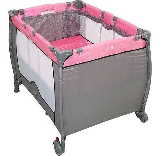 Berço Cercado Desmontável Compacto Rosa Baby Style