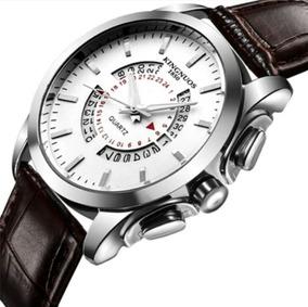 Relógio Masculino Aço Inox Prata Pulseira Couro Calendário