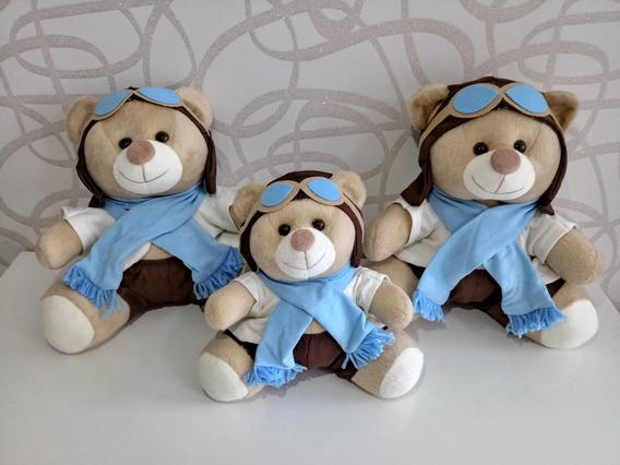 Trio Ursos Para Nicho Ursinho Pelucia Aviador Varias Cores