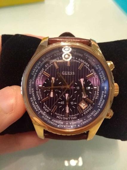 Relógio Casual Original Guess Pulseira De Couro