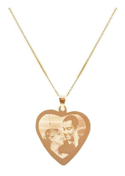 Colar C/ Pingente Coração Personalizado Banhado Em Ouro 18k
