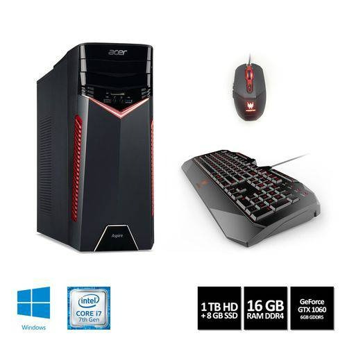 Desktop Gamer Acer Aspire Gx-783-br13 Intel Core I7 16gb 1tb Hd + 8gb Ssd Gtx 1060 6gb Windows 10