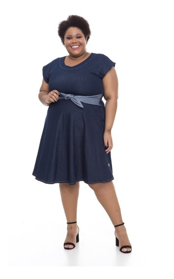 Vestido Plus Size Wonder Size Denim Jeans Azul