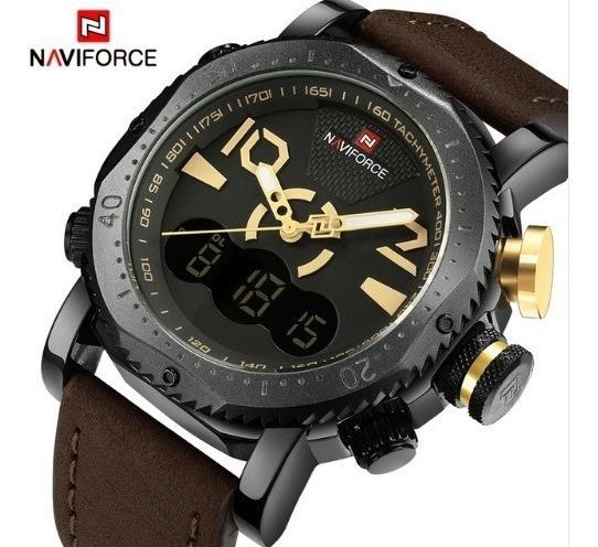 Relógio Masculino Homem Naviforce Couro Legítimo Marrom Na54
