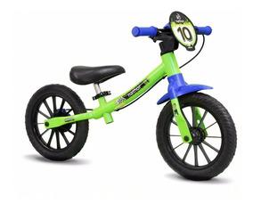 Bicicleta Infantil Menino Sem Pedal Verde Aro12 Balance Bike