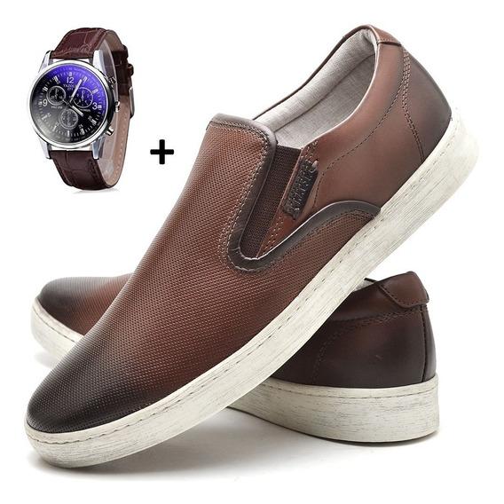 Relógio Yazole Original + Sapato Mocassim Masculino Verão
