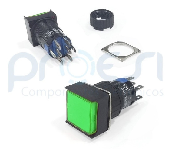 P16-bs7-g2 (2 Reversível / Dpdt) Botão Pulsante Metaltex 24v