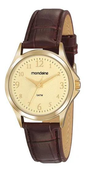 Relógio Feminino Dourado Pulseira Couro Marrom Todos Números