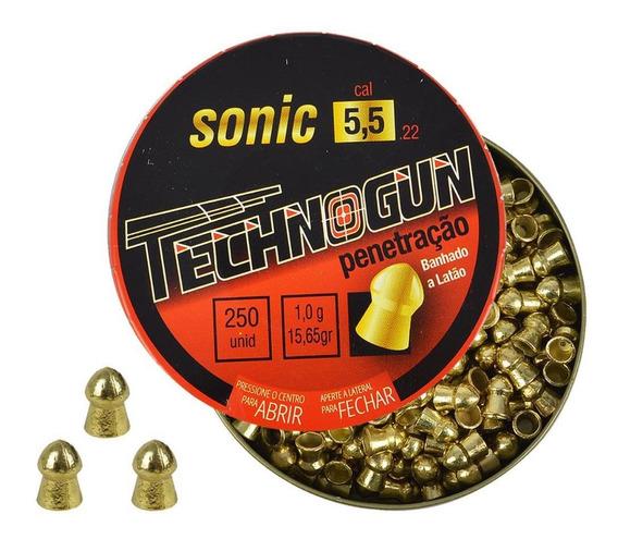 Chumbinho Carabina Pressão Technogun Sonic Latonado 5.5 250u