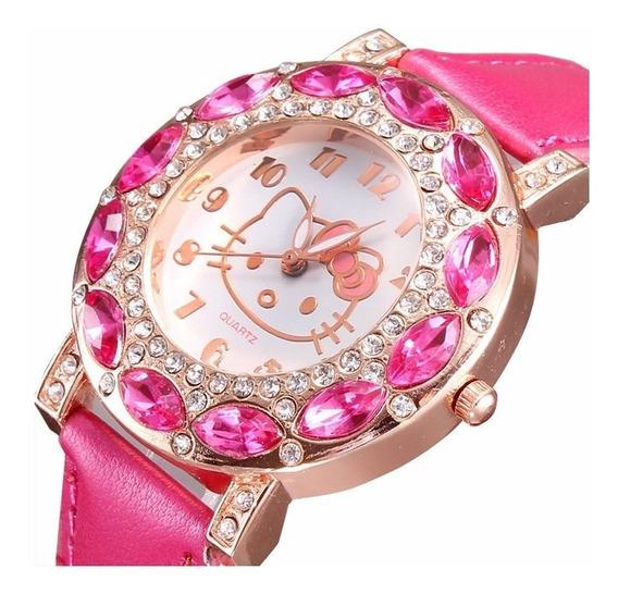 Relógio Feminino Pulso Hello Kitty Infantil Adulto Strass