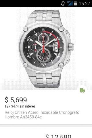 Reloj Citizen Acero Inoxidable Cronógrafo Hombre An3450-84e