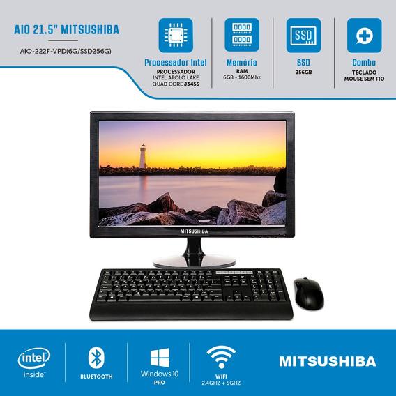Computador All In One Intel Celeron Quad Core J3455 6gb Ssd 256gb 21,5 Windows Pro Mitsushiba.