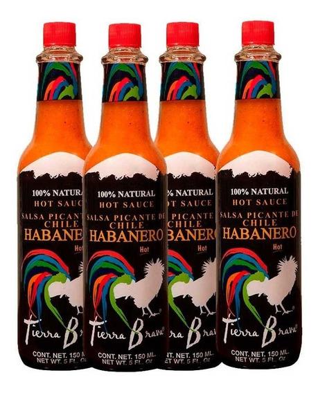 Tierra Brava, Salsa Habanero Roja, 4 Piezas (16 Oz.)