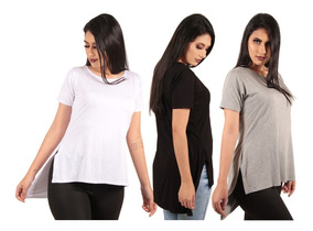 Kit 3 Camiseta Long Feminina Lisas Alongada Roupa Tumblr