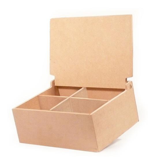 Caja De Té 4 Divisiones Tapa Lisa En Fibrofacil X6 Oferta!