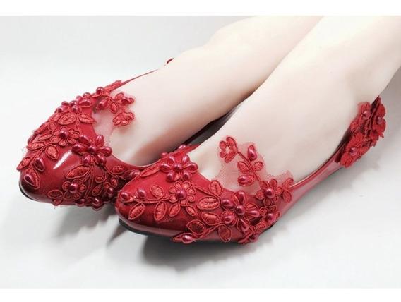 Sapatilha Noiva Renda Debutante Renda Vermelha Luxo