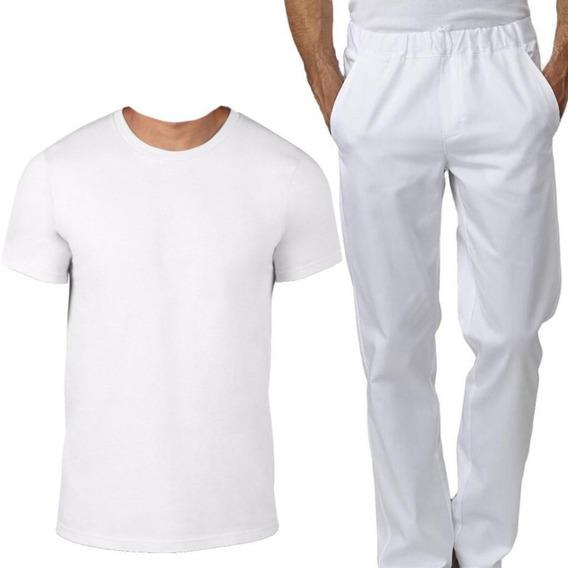 Kit Uniforme Para Açougue Camiseta + Calça Em Oxford Branco